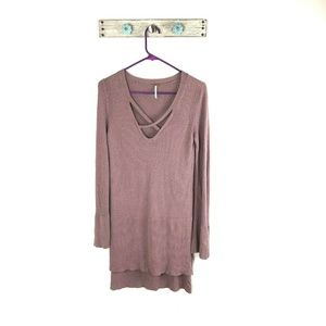 Free People S Purple Tunic Sweater High Low Hem